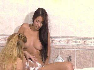 Shaving lesbian pussies in shower, Two lesbian