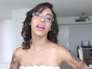 Teen in glasses gobbles, Teen in glasses gobbles