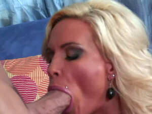 Blonde hottie gets drilled on the couch
