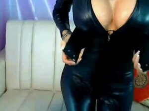 leather babe, This amateur hot black hair chick in