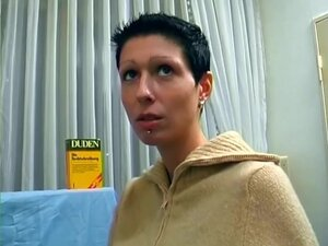 Skinny short haired chick and her vibrator -