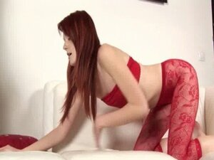 Redhead stroking dick