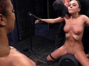 Couple dominate and torment brunette