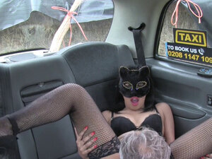 Masked babe in lingerie in fake taxi fucking