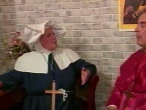 Naughty mature nun gets spanked by an old man