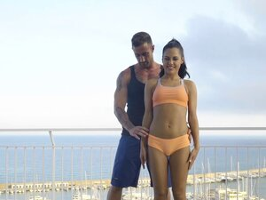 Standing 69 with a gorgeous brunette who he likes