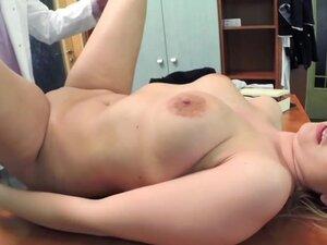 Blonde saleswoman fucked in fake hospital, Blonde