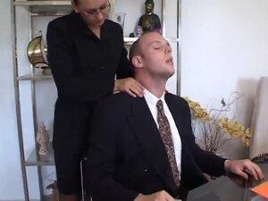 Secretary with dark black hair seduces her French