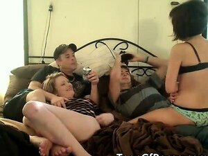 Horny teens have group sex for the cam