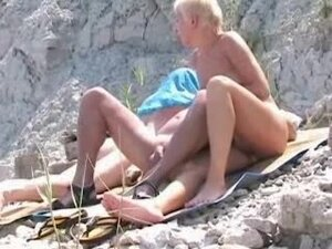 mature housewife blowing on a beach RRR, Amateur