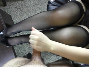 Young Handjob on her feet in stockings - Foot