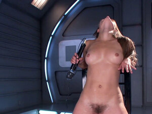Hairy pussy solo brunette takes machine
