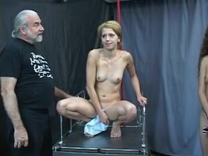 Tied golden-haired rides pole whilst dude and dark