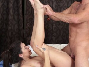 Daddy aged cock fucking Kara Fauxs pussy on top