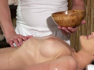 Massage Rooms Young natural tits brunette has leg