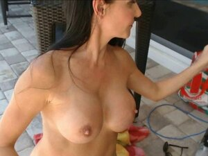 Fitness Model with Big Wet Tits Playing by the
