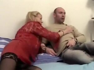 Mature blonde in white stockings fucks cock in