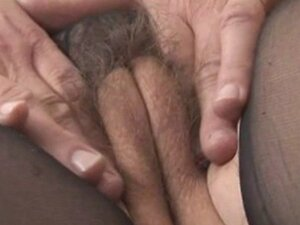 Busty hairy mature in sheer nightdress strips rips