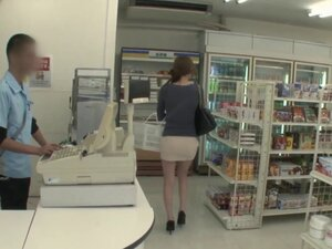 Big tits Japanese girl from the store fucks a