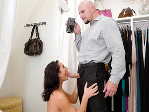 Jade Amber sucking Jmac's big cock in the fitting