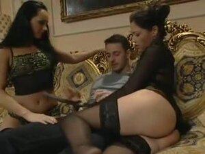 Three lusty Latinas in a hard group fuck, Three
