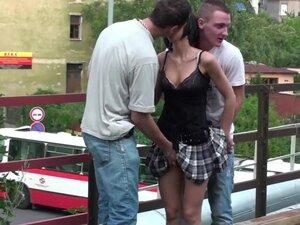 Young petite teen girl PUBLIC street gang bang sex