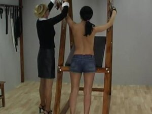 Skinny teen whipped by milf mistress