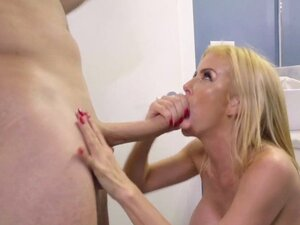 Milf with big boobs gives oral and gets fucking