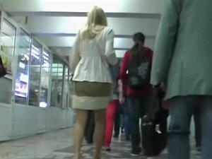 Blond filmed by an upskirt hunter, Are u thrilled