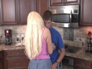 Blonde Milf Jerking In The Kitchen