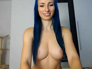 Perfect tits on this blue hair girl