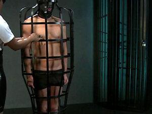 Ebony mistress fucks tied up slave