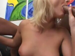 Blonde whore learns about two dicks in one hole,