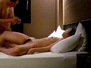 cute girl with boyfriend in hotel