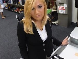 Blonde MILF pounded by nasty pawn dude in storage