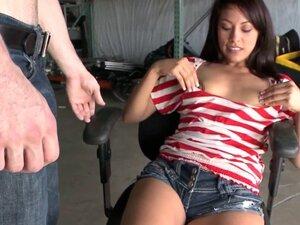 CFNM beauty tugging hard dick until cumshot