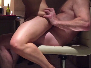 Girl orgasming on a chair on me
