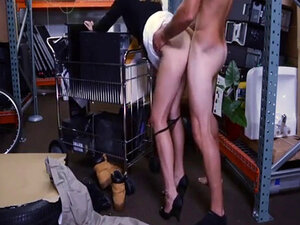 Hot blonde milf sells her stuff and fucked in
