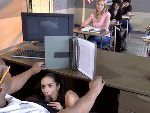 Tia Cyrus blows her PE teacher as he's giving his