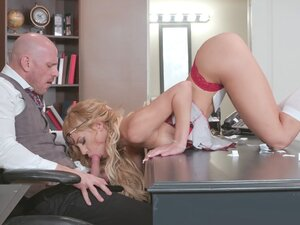 Aspen Rose is sucking Principal Sins' cock -