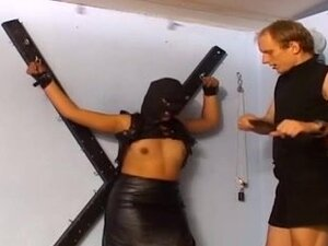 Kinky slut in stockings gets flogged BDSM style,