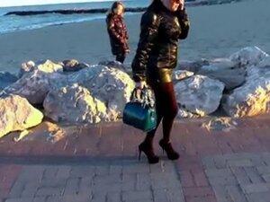 leather hotpants outside