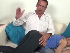 Petite stepdaughter punished with spanking