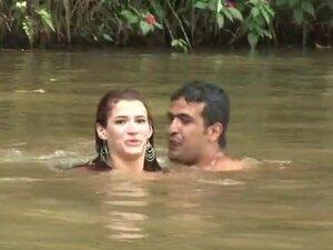 Sexy Dani Duran swims in a lake and fucks on a