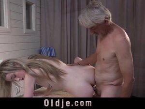 Teen sucks old man cock gets fucked and wallows