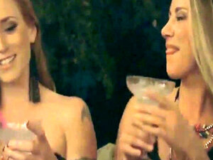 Group of hot cougars drinking and having fun by