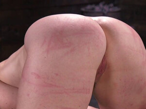 Hogtied redhead fat ass slave caned