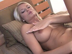 Horny blonde undresses and plays with her tight