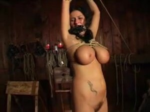 Slave girl tied up and punished hard by a whip,