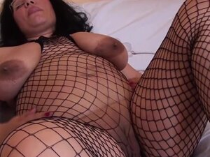 Big tits brunette drilling her pussy using toy